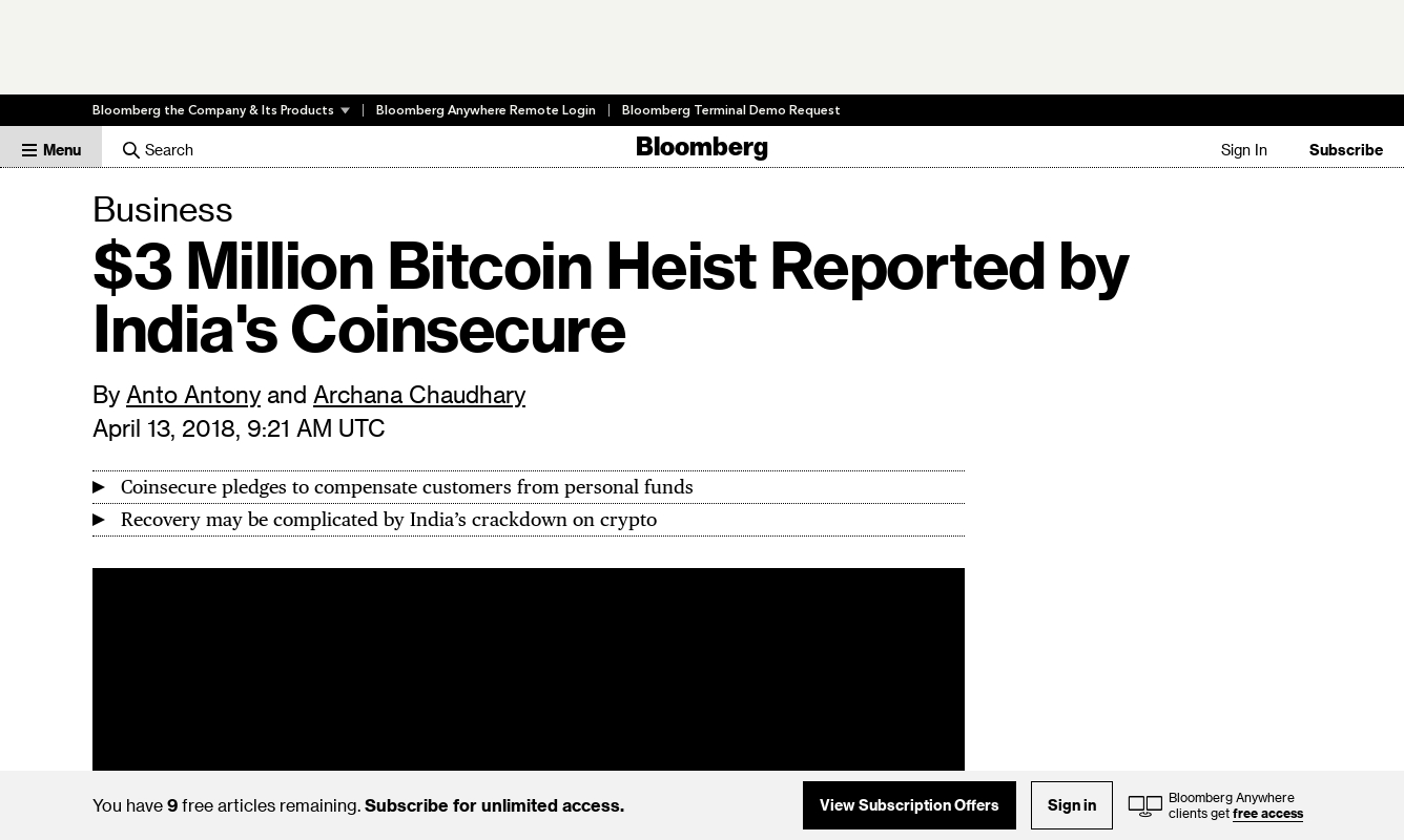 $3 Million Bitcoin Heist Reported by India's Coinsecure ( 13