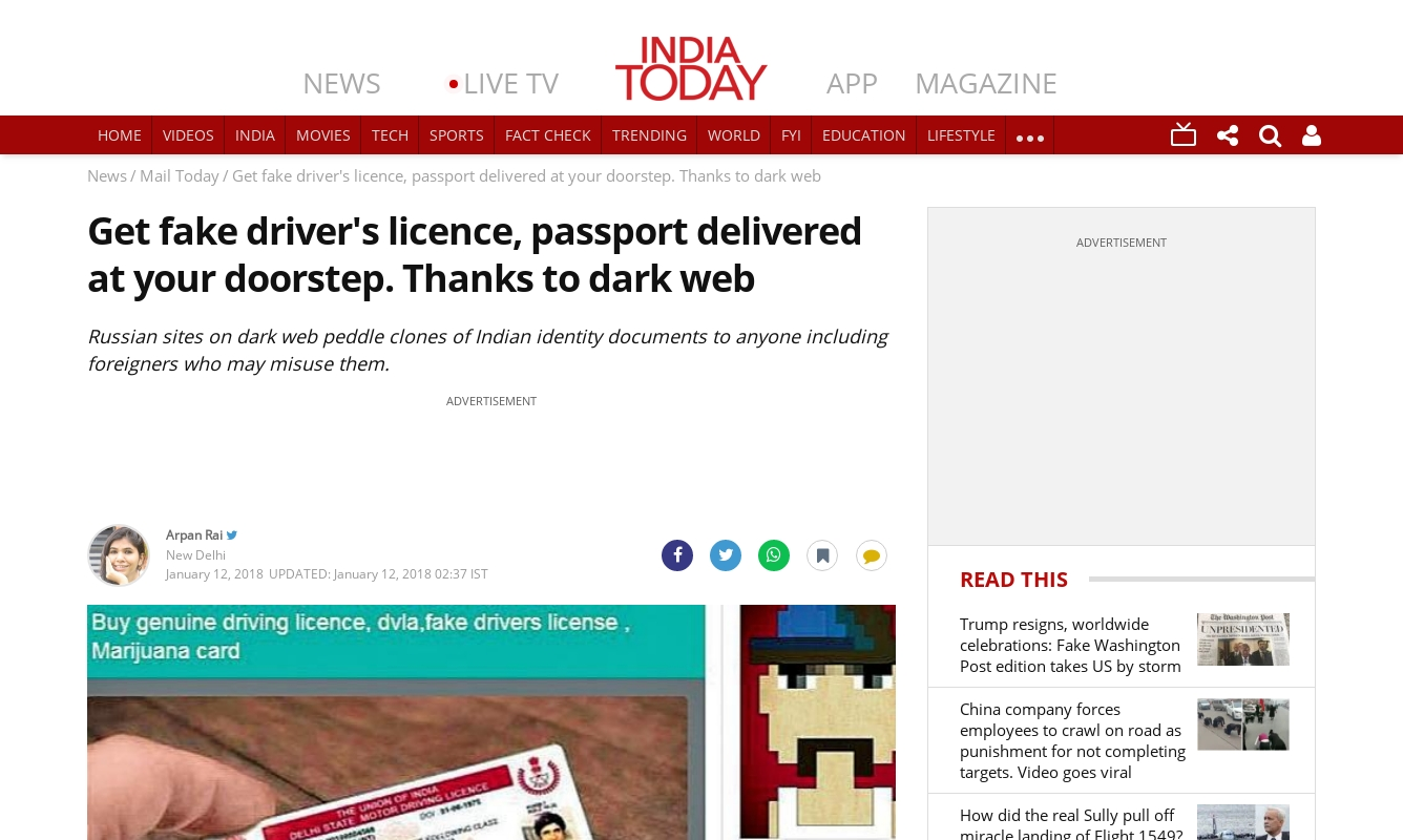 Get fake driver's licence, passport delivered at your